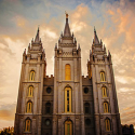 Salt Lake Temple During a Fall Sunset